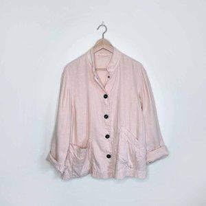 Giorgio Armani 100% linen snap button peach jacket